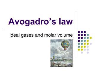 Avogadro�s law