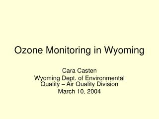 Ozone Monitoring in Wyoming
