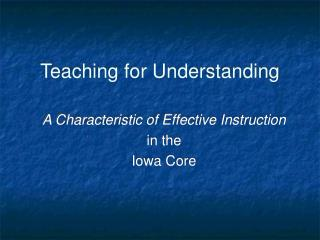 Teaching for Understanding