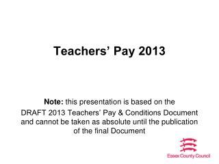 Teachers' Pay 2013