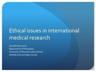 Ethical issues in international medical research