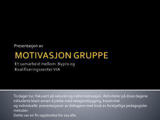 MOTIVASJON GRUPPE Et samarbeid mellom   Bypro  og  Kvalifiseringssenter VIA