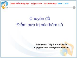 Chuyên đề  Điểm cực trị của hàm số Biên soạn: Thầy Bùi Anh Tuấn