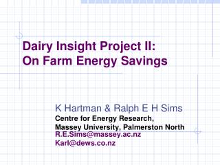 Dairy Insight Project II: On Farm Energy Savings