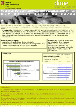 Factores de permanencia del voluntariado en las UCP de las Islas Baleares