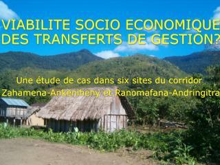VIABILITE SOCIO ECONOMIQUE  DES TRANSFERTS DE GESTION?