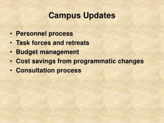 Campus Updates