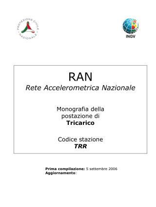 RAN Rete Accelerometrica Nazionale Monografia della postazione di Tricarico Codice stazione TRR