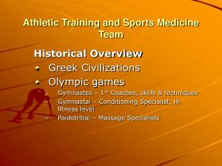 Athletic Training and Sports Medicine Team