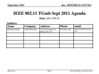 IEEE 802.11 TGmb Sept 2011 Agenda