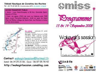 Programme 13 & 14 Septembre 2008