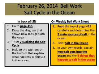 February 26, 2014  Bell Work Salt Cycle in the Ocean