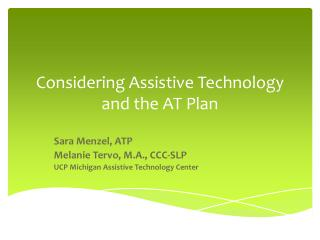 Considering Assistive Technology and the AT Plan