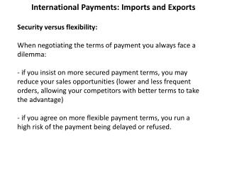 International Payments: Imports and Exports