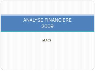 ANALYSE FINANCIERE 2009
