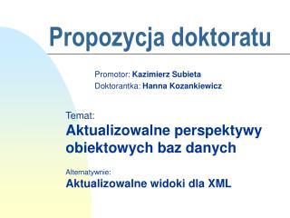 Propozycja doktoratu
