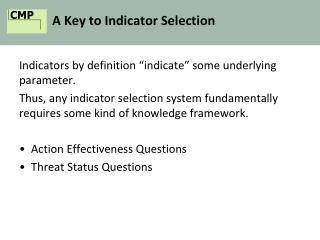 A Key to Indicator Selection