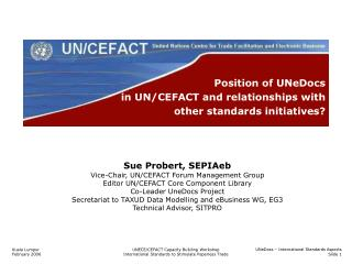 Position of UNeDocs  in UN/CEFACT and relationships with  other standards initiatives?