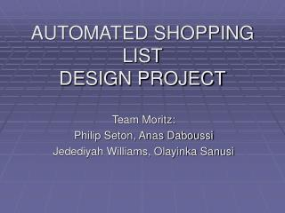 AUTOMATED SHOPPING  LIST DESIGN PROJECT