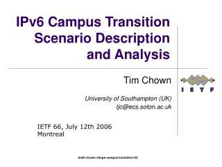 IPv6 Campus Transition Scenario Description and Analysis