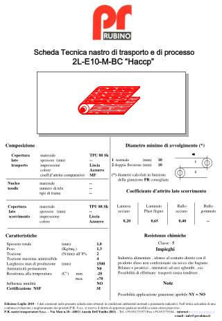 """Scheda Tecnica nastro di trasporto e di processo 2L-E10-M-BC """"Haccp"""""""