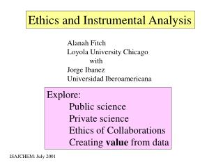 Ethics and Instrumental Analysis