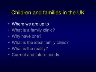 Children and families in the UK