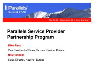 Parallels Service Provider Partnership Program