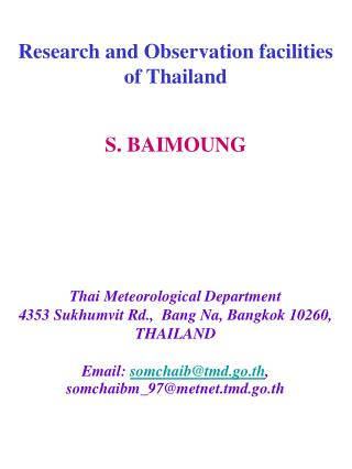 Research and Observation facilities  of Thailand