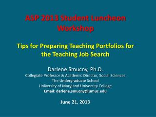 ASP 2013 Student Luncheon Workshop