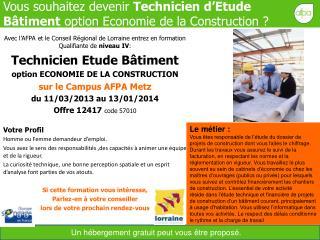 Vous souhaitez devenir  Technicien d'Etude Bâtiment  option Economie de la Construction ?