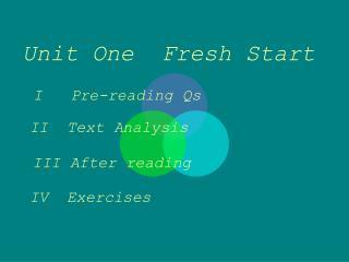 Unit One  Fresh Start