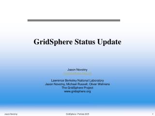 GridSphere Status Update
