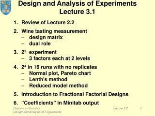 Design and Analysis of Experiments Lecture 3.1