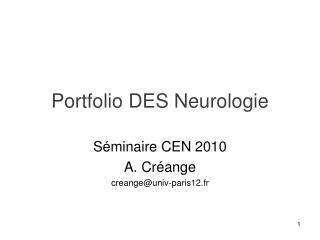 Portfolio DES Neurologie