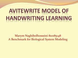 AVITEWRITE MODEL OF HANDWRITING LEARNING