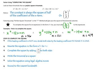 Factor Using �COMPLETING THE SQUARE�