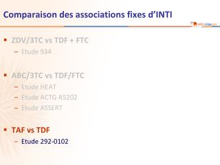 Comparaison des associations fixes d'INTI