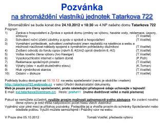 Pozvánka na shromáždění vlastníků jednotek Tatarkova 722
