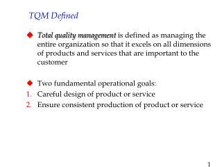 TQM Defined