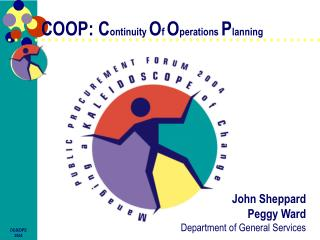 COOP: Continuity Of Operations Planning
