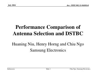 Performance Comparison of Antenna Selection and DSTBC