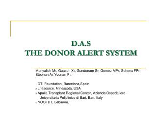 D.A.S   THE DONOR ALERT SYSTEM
