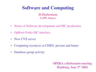 Software and Computing