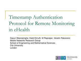 Timestamp Authentication Protocol for Remote Monitoring in eHealth