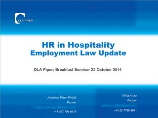 HR  in Hospitality  Employment Law Update