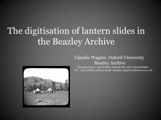 The digitisation of lantern slides in the Beazley Archive