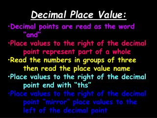 Decimal Place Value: