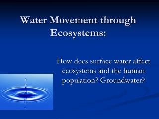 Water Movement through Ecosystems:
