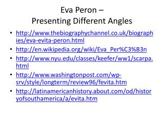 Eva Peron –  Presenting Different Angles